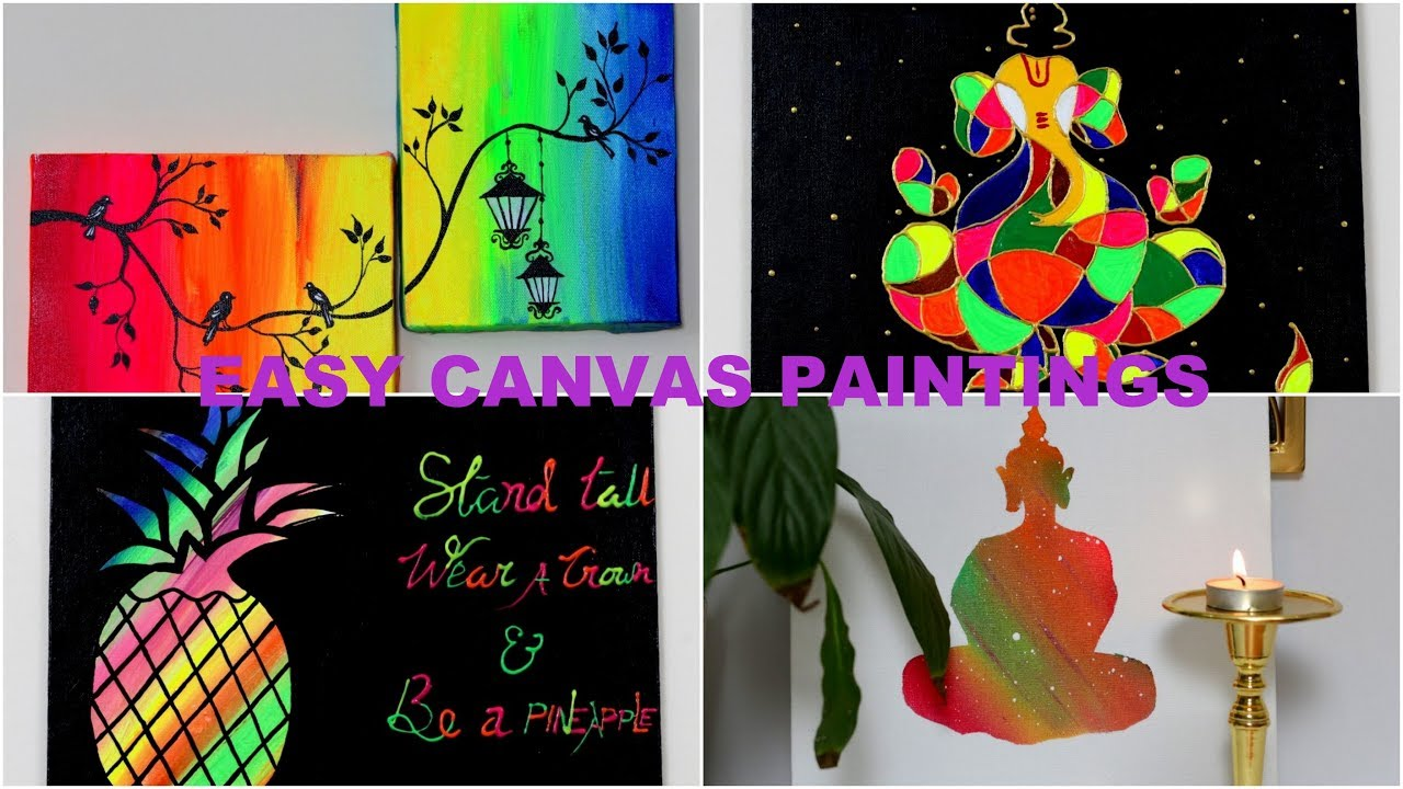 Easy Simple Abstract Painting Acrylic Paintings For Kids Youtube