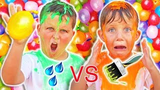 WATER BALLOON CHALLENGE! Water VS REAL Paint filled Water Balloon Game!