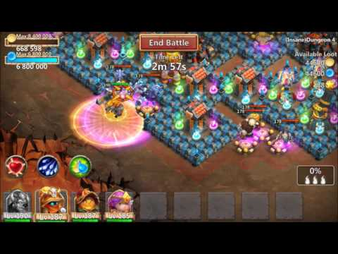 Beating INSANE Dungeon 4-10 WITH ONLY 4 Heroes Devo SM Castle Clash