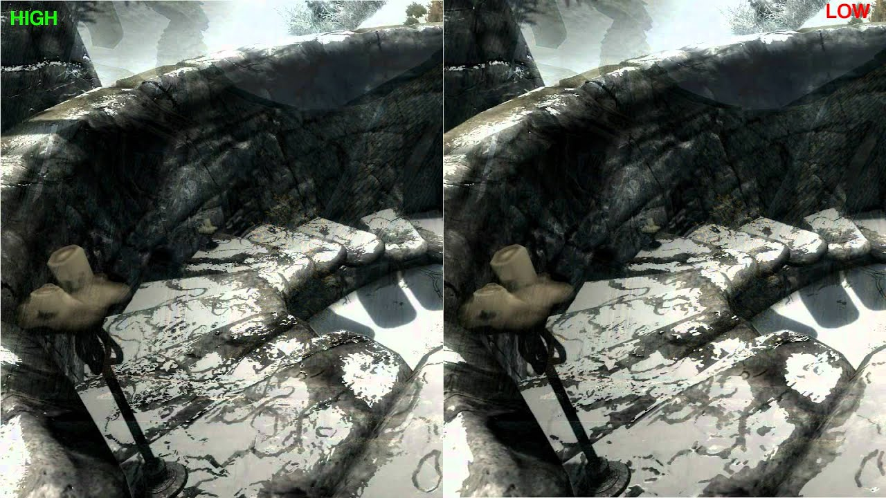 Skyrim -- High Resolution Texture Pack Comparison