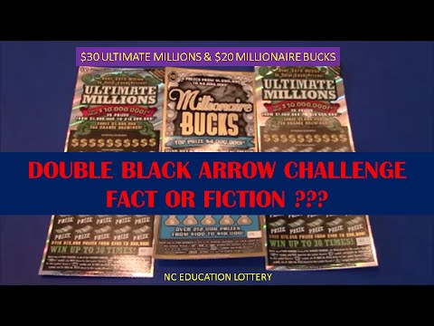 NC EDUCATION LOTTERY BLACK ARROW CHALLENGE $20 AND $30 SCRATCHCARDS
