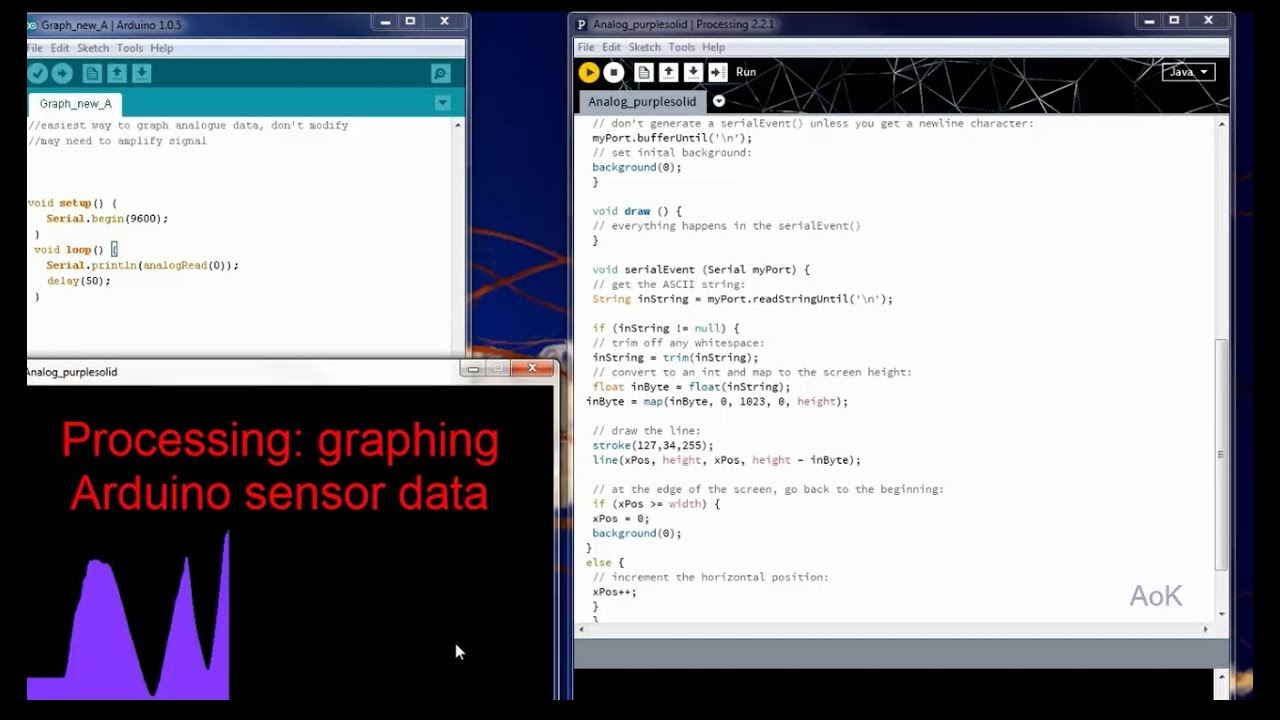 Processing graphing data from arduino sensor youtube