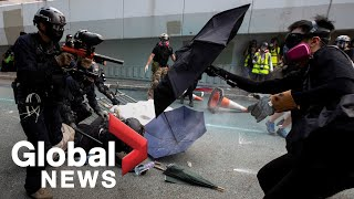Hong Kong police battle protesters, make mass arrests in violent weekend before China's National Day
