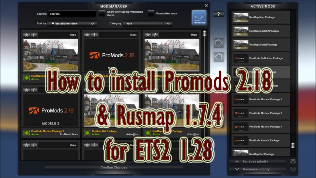Ets2 Tutorial How To Install Promods 2 18 Rusmap 1 7 4 For Ets2 1 28