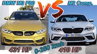 BMW M3 F80 vs BMW M2 F87 Competition | 431 HP S55B30 vs 410 HP S55B30 | 0-100 + 0-200 + 0-250 km/h