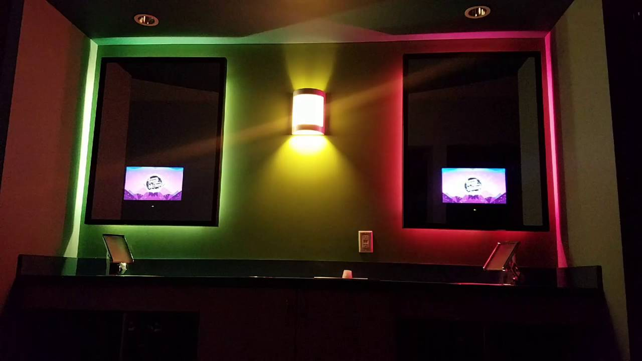mirror lighting strips. Hue Gen2 Light Show On Vanity With In Mirror Tvs Lighting Strips A