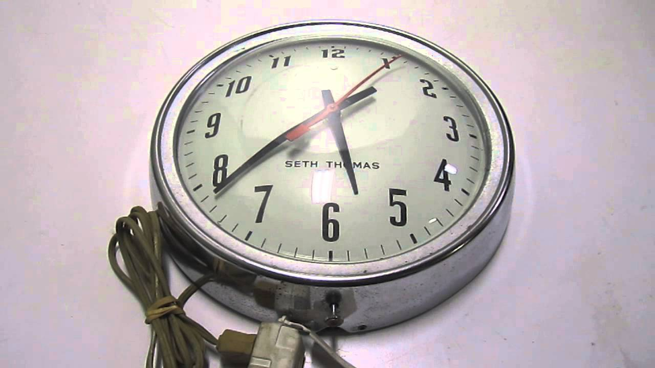 Vintage seth thomas 10 round chrome electric wall clock school vintage seth thomas 10 round chrome electric wall clock schooloffice continuous second hand youtube amipublicfo Image collections
