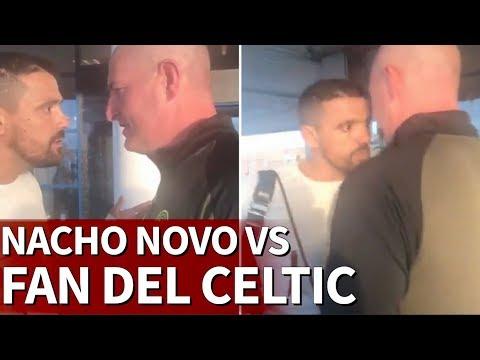 El tenso enfrentamiento entre Nacho Novo y un hincha del Celtic