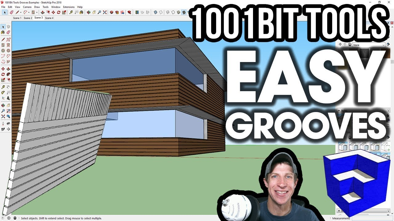 Creating EASY GROOVES in Walls - SketchUp/1001Bit Tools