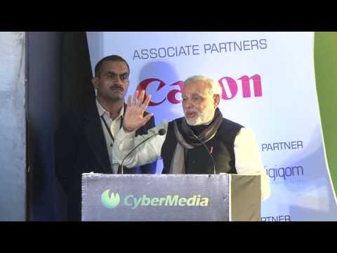 Shri Narendra Modi addressing at the CyberMedia ICT Business Awards 2013 in Delhi HD