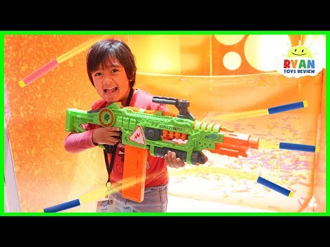 Ryan plays with Nerf toys, Monster Trucks, Beyblade and more!!!