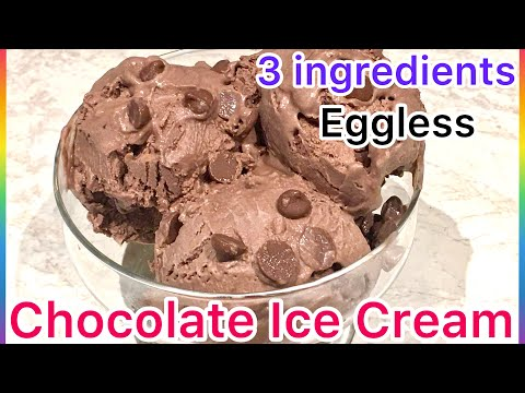 3 Ingredients Easy Homemade Chocolate Ice Cream | Eggless Recipe | No Ice Cream Machine Recipe