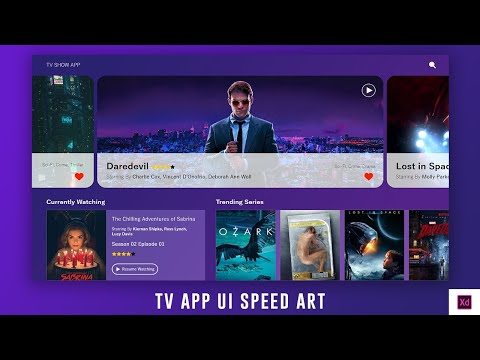 TV App UI Design Speed Art- Web UI / UX Design - Adobe XD UI Design