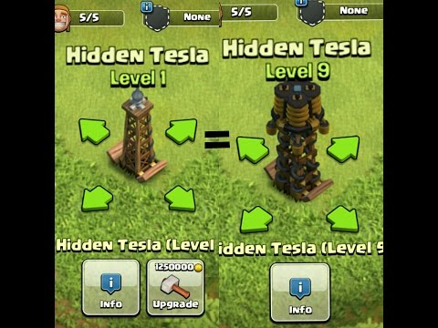 Clash Of Clans  - Hidden tesla lv.1 to Max in second(p server) review