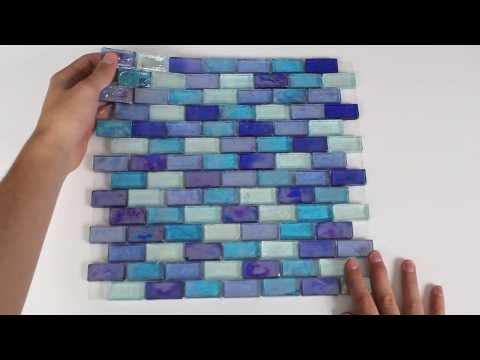 Iridescent Glass Mosaic Tile Cobalt Blend 1x2 - 120KELU12BL12