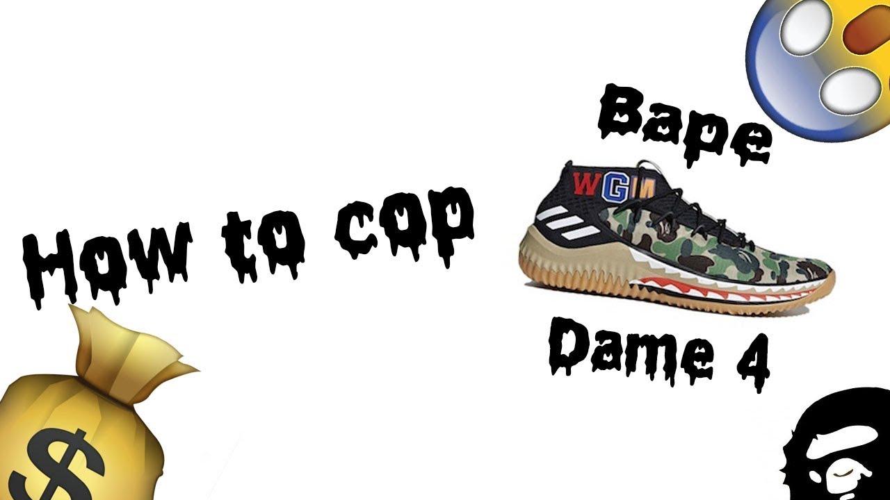da1578c5407c92 How to cop the Adidas Bape x Dame 4 for Retail! Links in Description ...