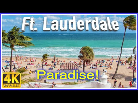 【4K】WALK Fort Lauderdale Beach Florida USA 4k slow TV Travel vlog
