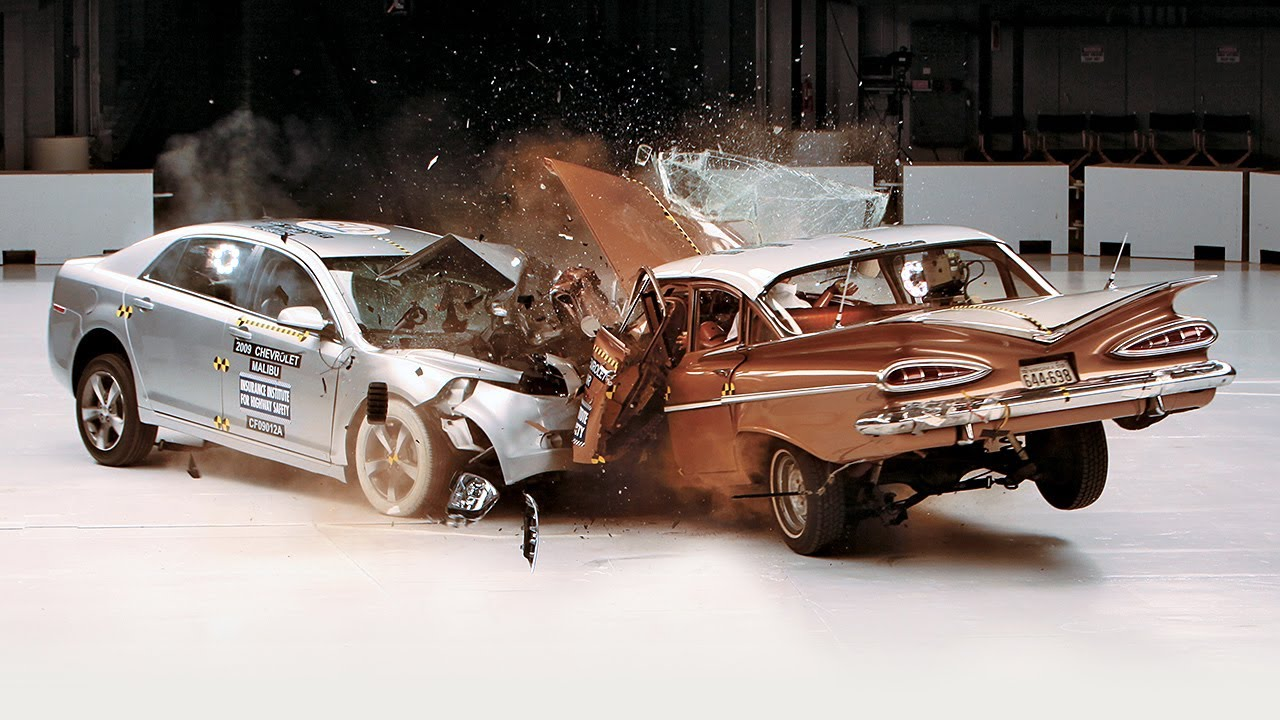 1959 Chevrolet Bel Air vs  2009 Chevrolet Malibu IIHS crash test