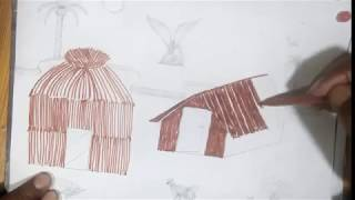 Draw hut  drawing for kids | how to draw house