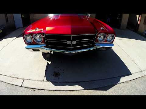 Inside the booth on 1970 Chevelle HOK Candy Apple Red overhaul paint