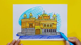 How to draw and color Golden Temple (Gurdwara), Amritsar