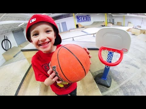 Father & Son ULTIMATE BASKETBALL TRICK SHOTS AT THE SKATEPARK!