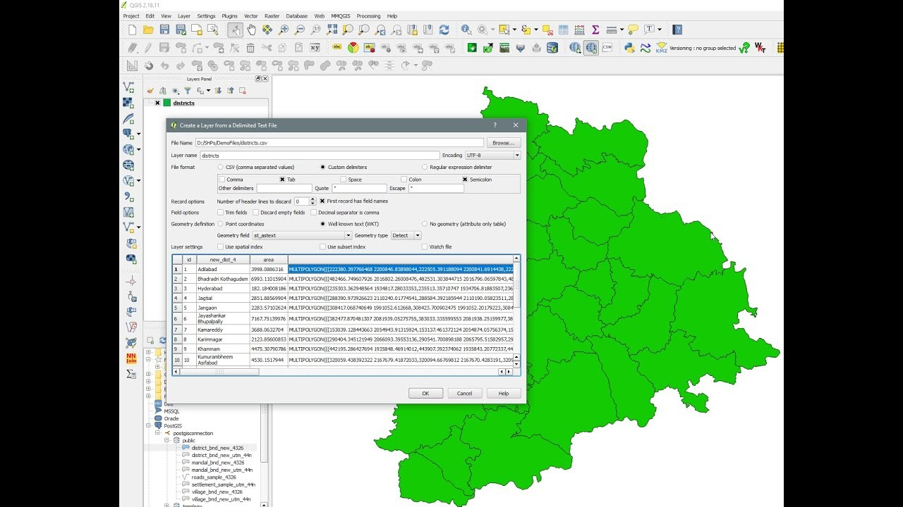QGIS - Export layer to delimited text and geom to WKT - Load WKT in QGIS