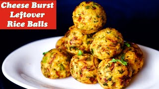 Cheese Burst Rice Balls, Instant breakfast recipe, LeftOver Rice recipe, Indian spicy Rice Balls