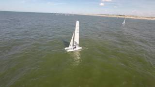 Catamaran sailing Bergen aan Zee (by drone).Flying Phantom 2