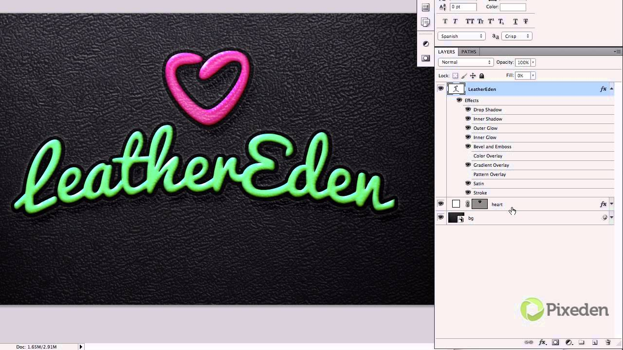 Embossed Leather Psd Text Effect Tutorial - PIXEDEN - YouTube