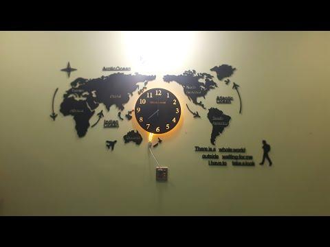 World Map Wall Clock Assembling and Placing