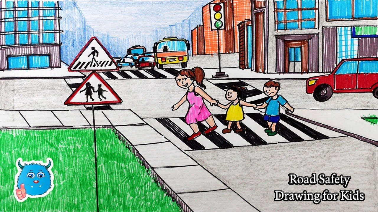 How To Draw Road Safety Drawing City Kids Using A Zebra Crossing