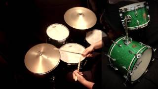 Franco Dal Monego plays Gretsch Green Glitter Vintage Jazz Set with Zildjian Avedis Vintage cymbals
