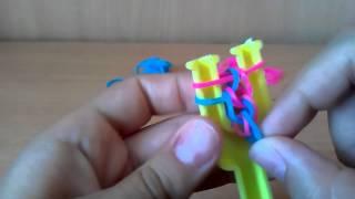 Браслет из резинок Чешуя дракона на рогатке урок 2