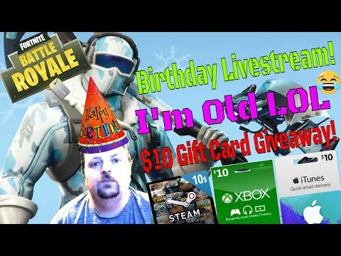 Fortnite / Birthday Livestream 🎉 / $10 Gift Card Giveaway 🎁