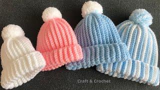 Easy & fast crochet baby hat/crochet beanie/crochet for beginners