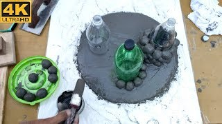 Making cement plant pot at home    Flower Pots From Cement Marbles    DIY cement Decoration Ideas