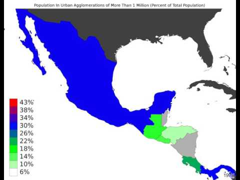 Central America - Population In Urban Agglomerations Of More Than 1 Million - Timelapse