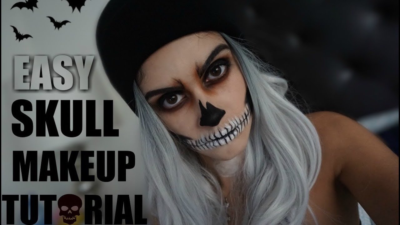 Easy skull halloween makeup tutorial youtube easy skull halloween makeup tutorial baditri Image collections