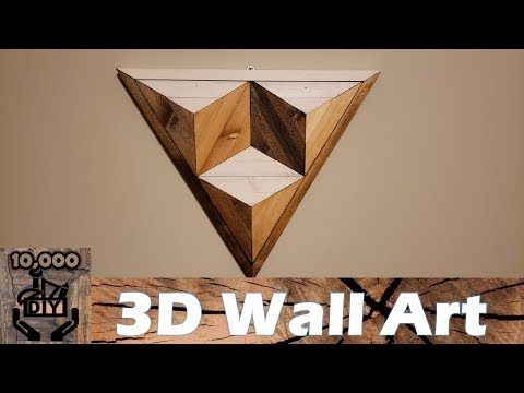 DIY : 3D Illusion Geometric Triangle Wooden Wall Art / Reclaimed wood wall art / Wall Accent