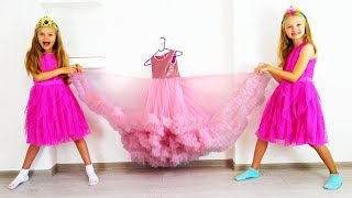 Polina and her friend dress up for a princess ball