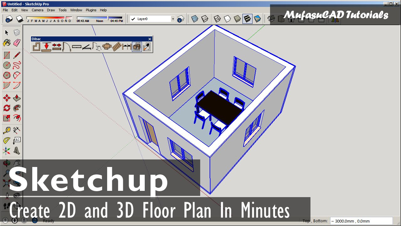 sketchup fast 2d and 3d floor plan with dibac plugin youtube. Black Bedroom Furniture Sets. Home Design Ideas