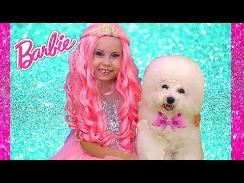 Alice how Barbie Doll Plays with puppy