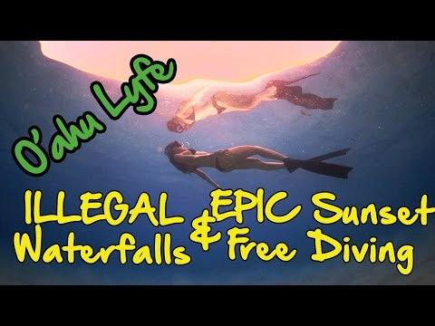 ILLEGAL Waterfalls and Freediving during the MOST EPIC Sunset (Shangerdanger Oahu Vlog 4)