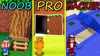 MINECRAFT: BASE SECRETA NOOB VS BASE SECRETA PRO VS BASE SECRETA HACKER