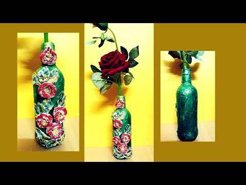 Quick and Easy Bottle Decoration Idea   Aluminium Foil Crafts   Bottle Craft Ideas   Sikha Crafts
