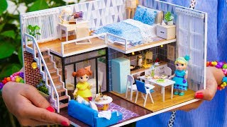 DIY Miniature Doll House with Bedroom, Bathroom, Living Room and Dining Room