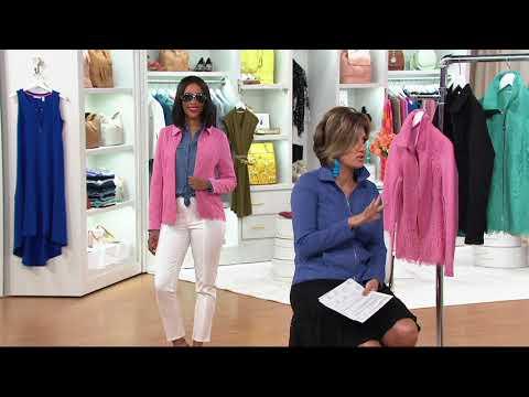 Isaac Mizrahi Live! Floral Lace & Knit Jacquard Jacket on QVC