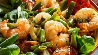 """🐡🐡🐡Теплый #салат с #креветками. Соус """"морней"""" со #сливками. Sea salad with octopus🐾🐾🐾"""