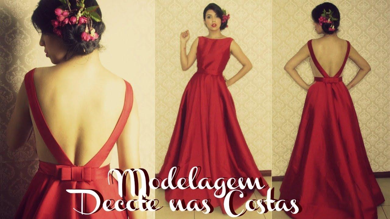 4b33a9b120 Vestido de Festa - Modelagem Superior e Decote  V  - YouTube